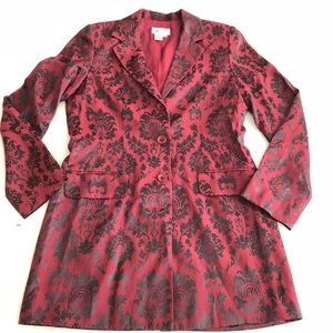 Maroon Jacquard Damask Print Long Blazer /Dress